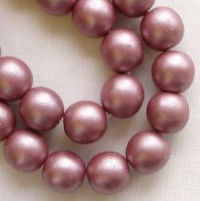 8mm Round Czech Glass Beads Mauve Satin - 25
